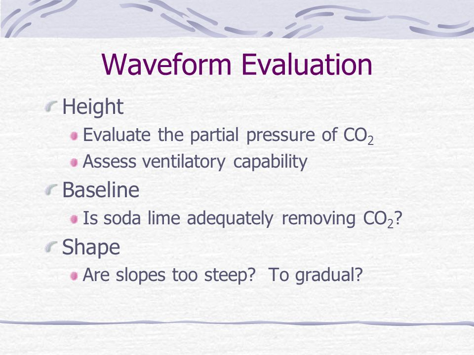 Waveform Evaluation Height Evaluate the partial pressure of CO 2 Assess ventilatory capability Baseline Is soda lime adequately removing CO 2 ? Shape