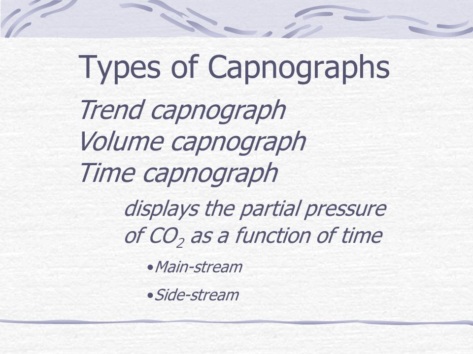 Types of Capnographs Trend capnograph Volume capnograph Time capnograph displays the partial pressure of CO 2 as a function of time Main-stream Side-stream