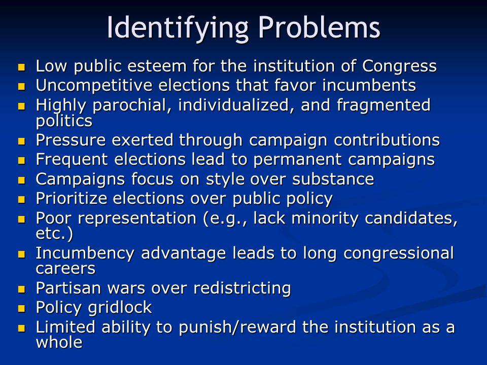 Identifying Problems Low public esteem for the institution of Congress Low public esteem for the institution of Congress Uncompetitive elections that