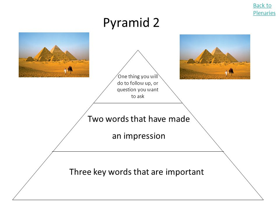 Pyramid 2 Back to Plenaries Three key words that are important Two words that have made an impression One thing you will do to follow up, or question