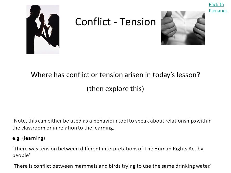 Conflict - Tension Back to Plenaries Where has conflict or tension arisen in today's lesson? (then explore this) -Note, this can either be used as a b