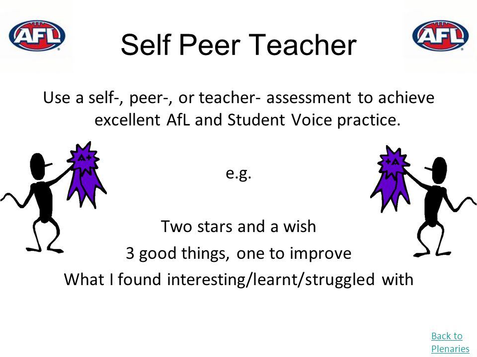 Self Peer Teacher Use a self-, peer-, or teacher- assessment to achieve excellent AfL and Student Voice practice. e.g. Two stars and a wish 3 good thi