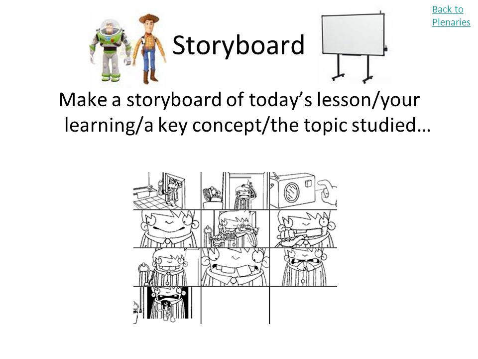 Storyboard Make a storyboard of today's lesson/your learning/a key concept/the topic studied… Back to Plenaries