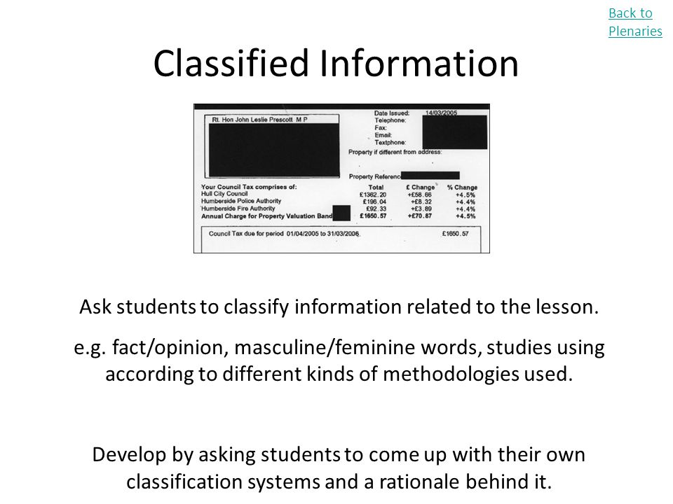 Classified Information Back to Plenaries Ask students to classify information related to the lesson. e.g. fact/opinion, masculine/feminine words, stud