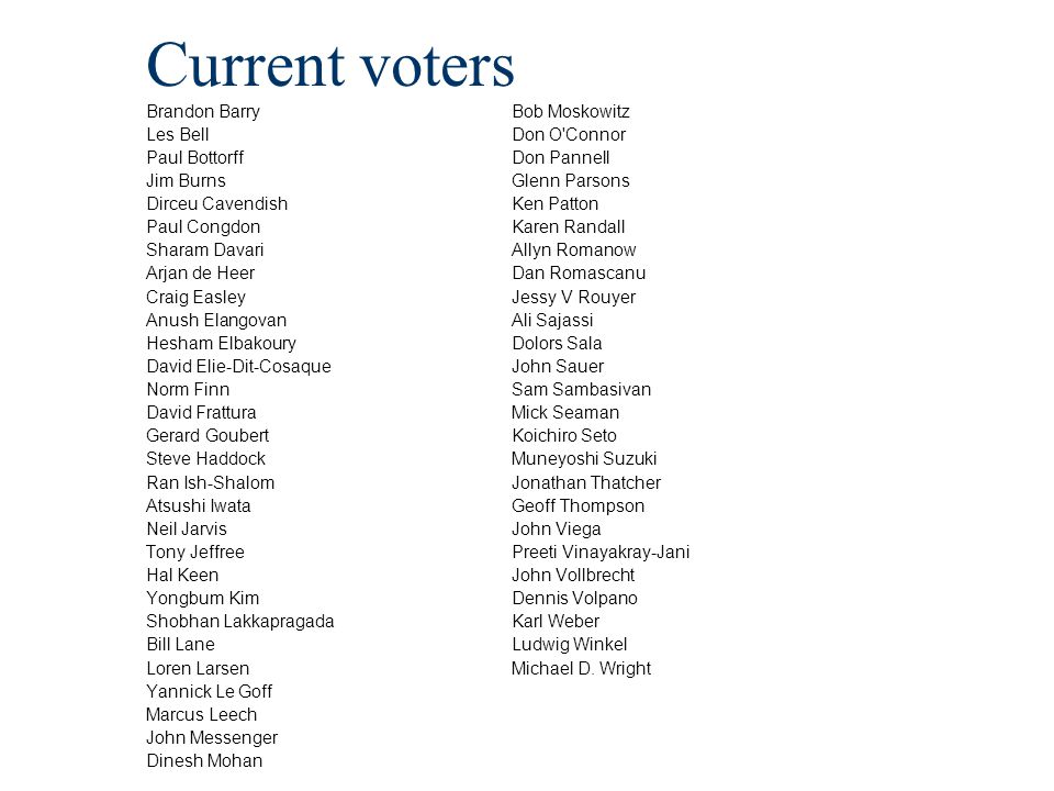 Current voters Brandon Barry Les Bell Paul Bottorff Jim Burns Dirceu Cavendish Paul Congdon Sharam Davari Arjan de Heer Craig Easley Anush Elangovan H