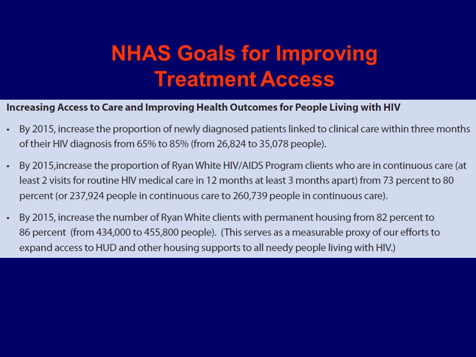 NHAS Goals for Improving Treatment Access