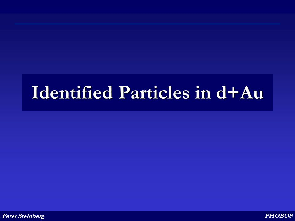 Peter Steinberg PHOBOS Identified Particles in d+Au