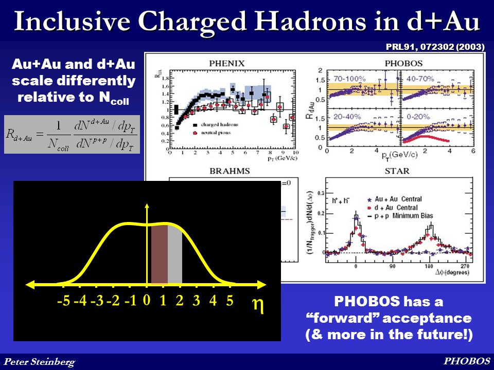 """Peter Steinberg PHOBOS Inclusive Charged Hadrons in d+Au Au+Au and d+Au scale differently relative to N coll PHOBOS has a """"forward"""" acceptance (& more"""