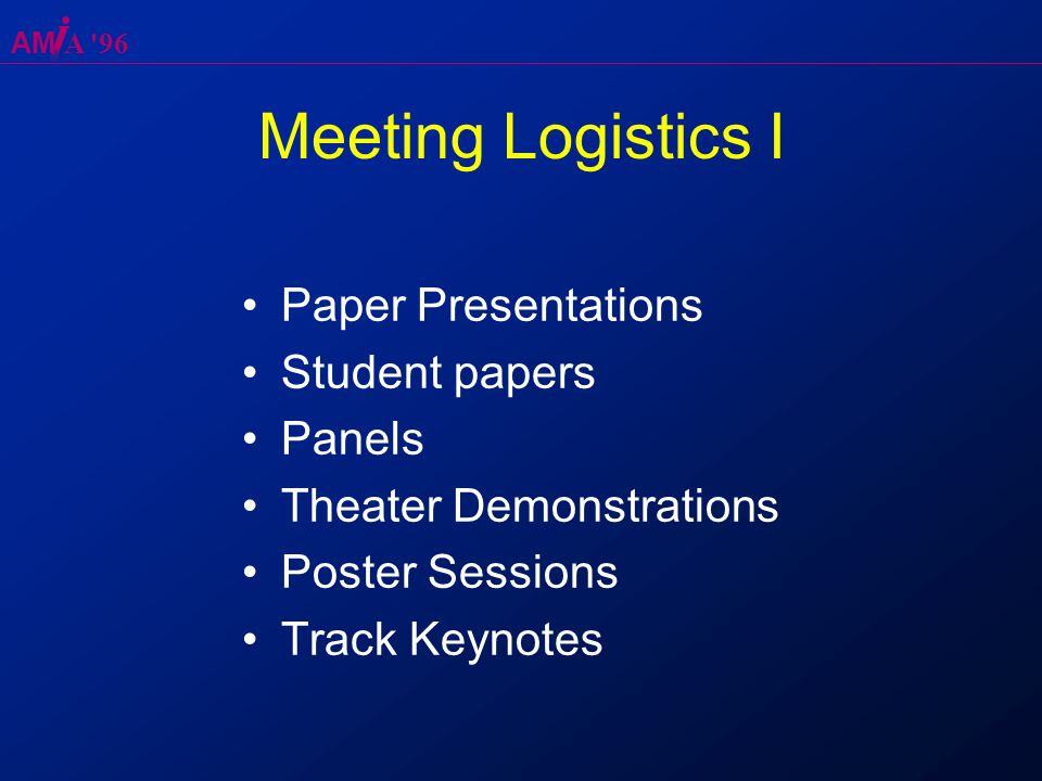 AM A 96 Meeting Logistics I Paper Presentations Student papers Panels Theater Demonstrations Poster Sessions Track Keynotes