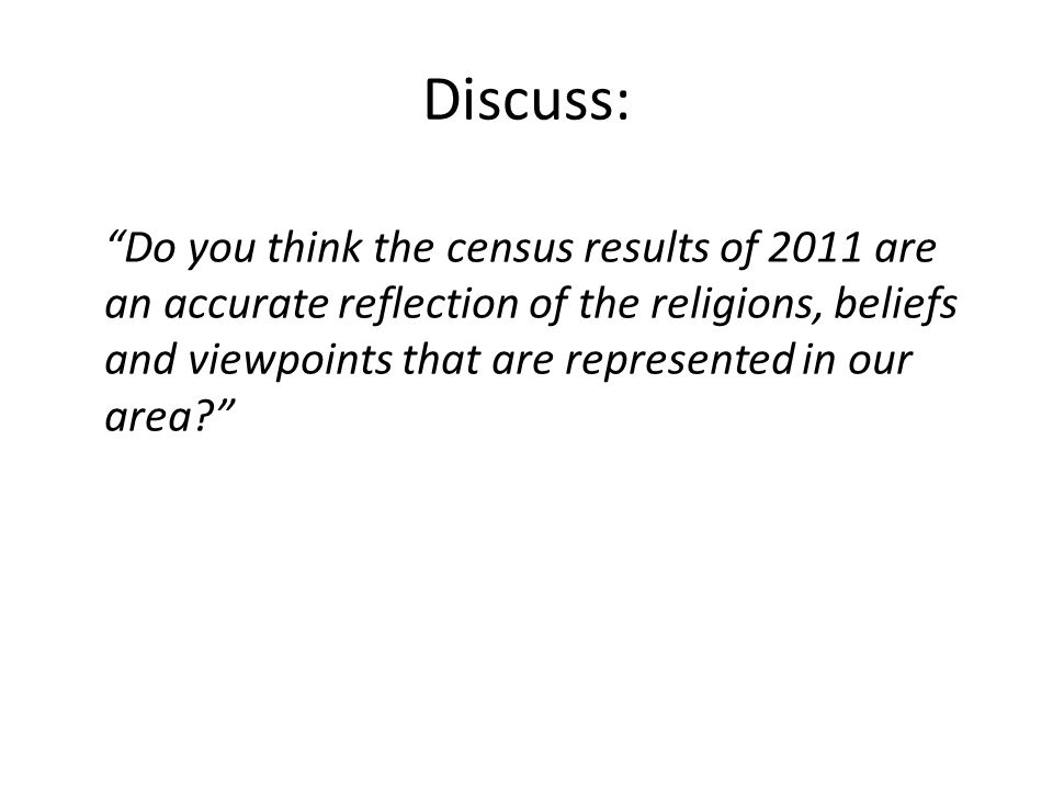 Discuss: Do you think the census results of 2011 are an accurate reflection of the religions, beliefs and viewpoints that are represented in our area