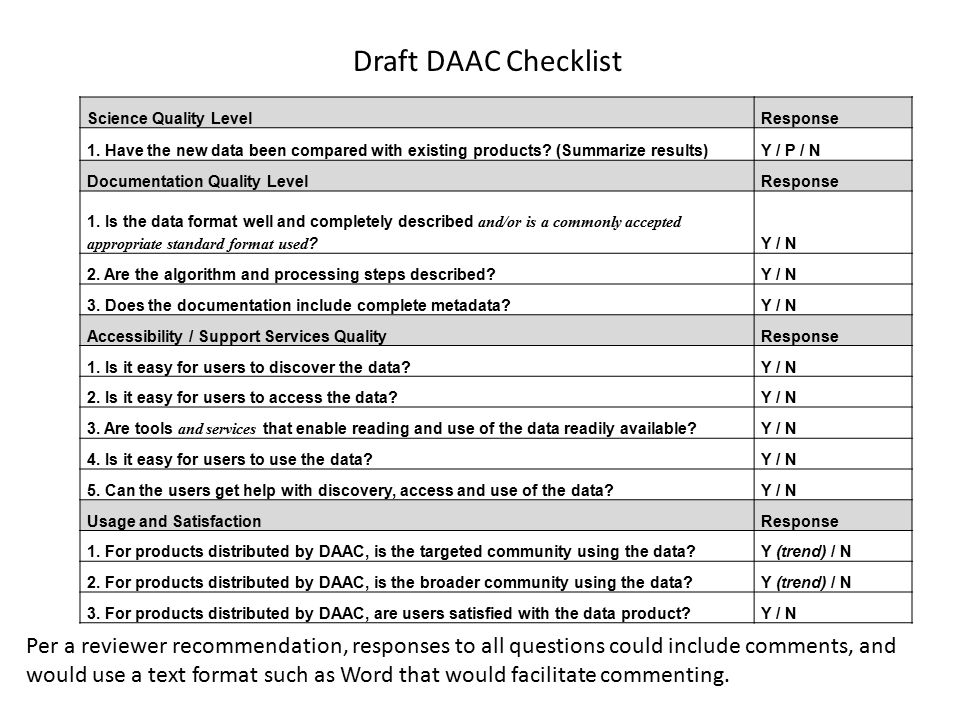 Draft DAAC Checklist Science Quality LevelResponse 1.