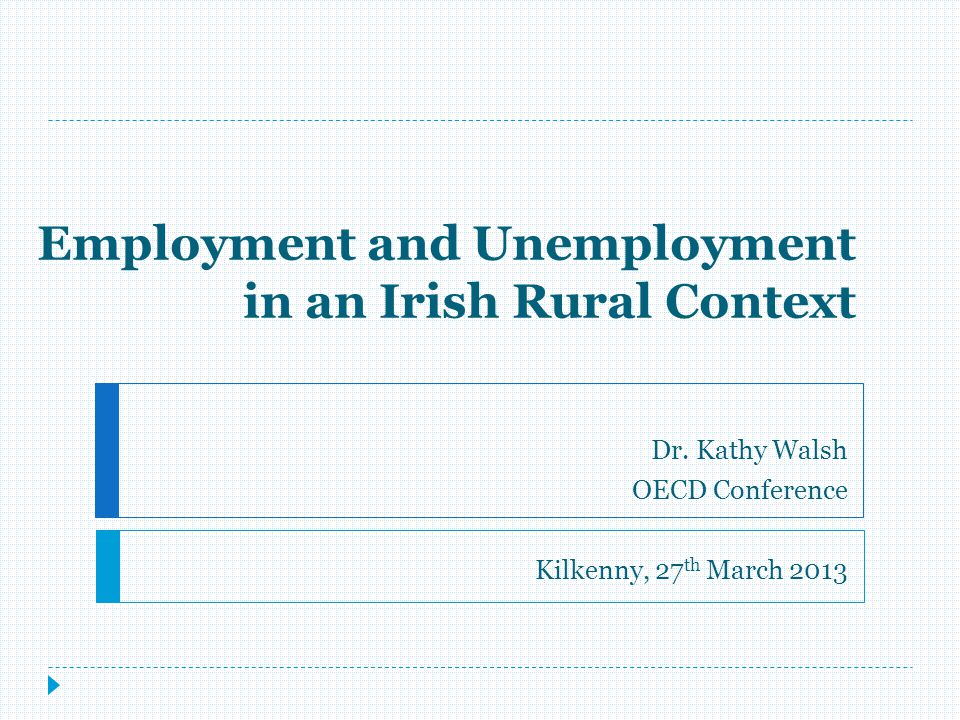 Employment/Unemployment Recommendations:  Better adaptation of activation to the rural, refocusing resources to intensive support and outreach, investment in childcare, transport & progression.