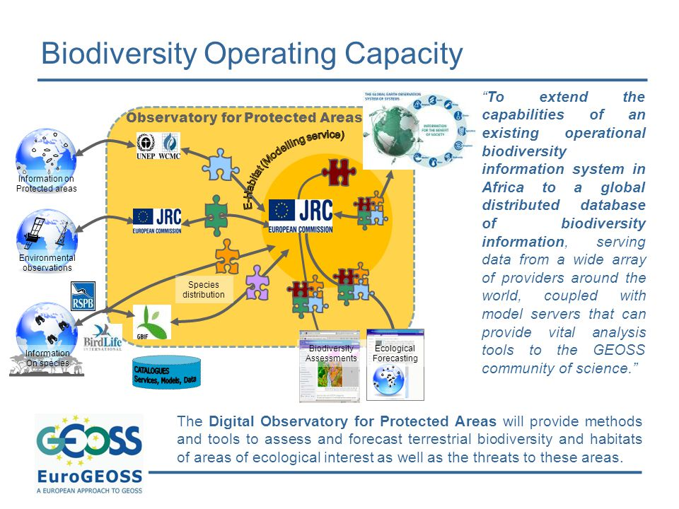 Biodiversity Operating Capacity The Digital Observatory for Protected Areas will provide methods and tools to assess and forecast terrestrial biodiversity and habitats of areas of ecological interest as well as the threats to these areas.