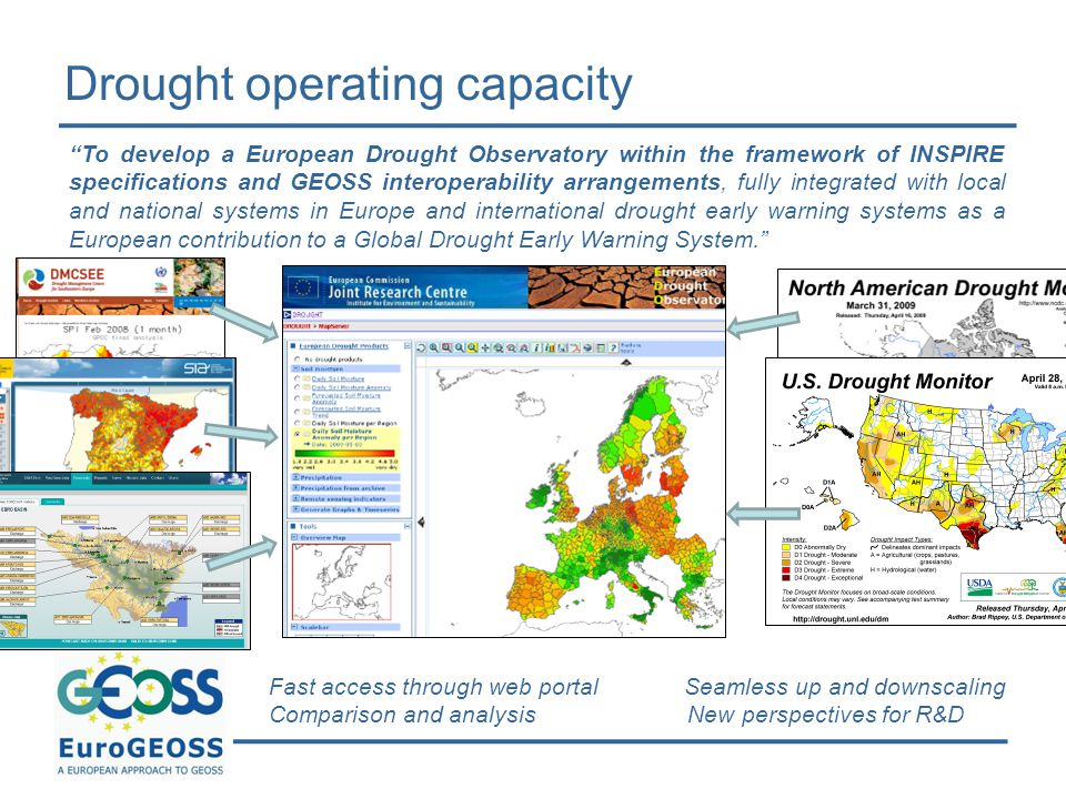 """Drought operating capacity Fast access through web portal Seamless up and downscaling Comparison and analysis New perspectives for R&D """"To develop a E"""