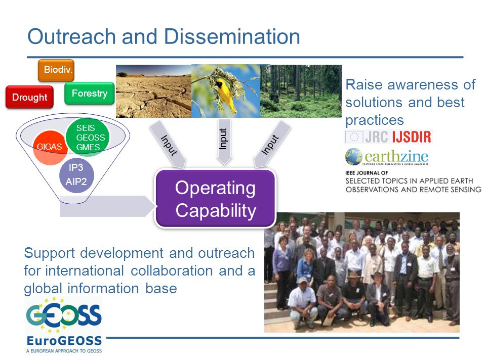 Outreach and Dissemination Support development and outreach for international collaboration and a global information base Raise awareness of solutions