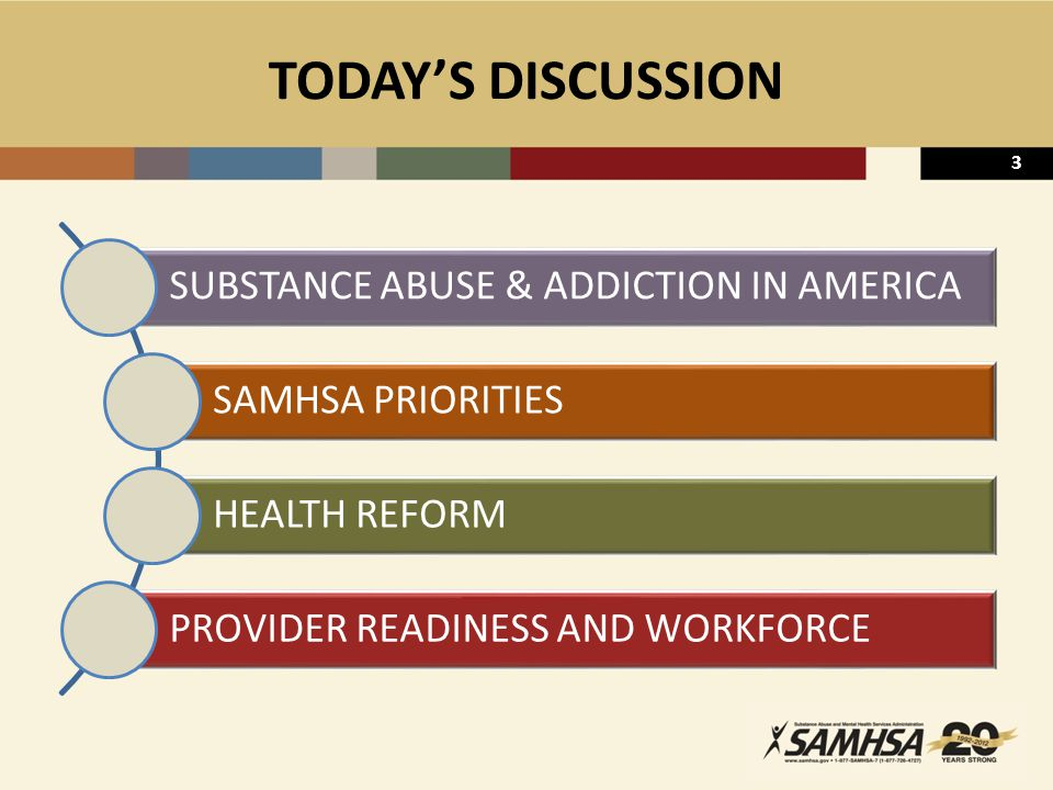 4 NATIONALLY – SUBSTANCE ABUSE  ~ 22.1 million persons aged 12 + were classified with substance dependence or abuse in the past year (8.7 percent) 4.2 million illicit drugs 15.0 million alcohol 2.9 million classified with dependence or abuse of both