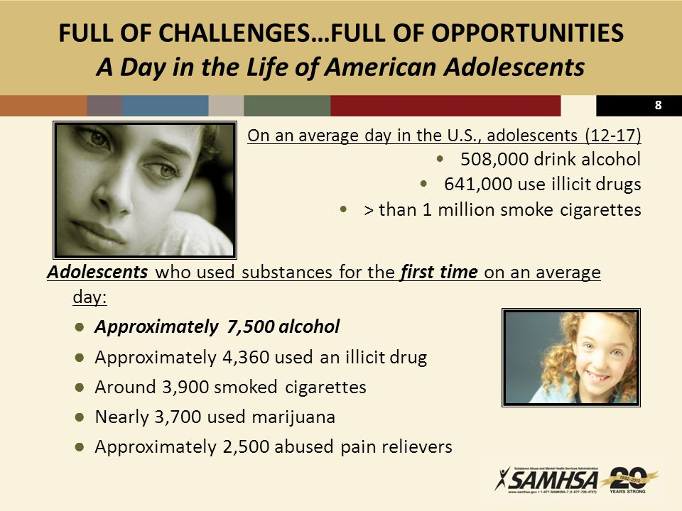9 UNDERAGE DRINKING ↓, BUT…  ~5,000 young people die each year from injuries caused by underage drinking – stagnant  > 67 percent of young people who start drinking before age 15 will try an illicit drug  > 4 in 10 who begin drinking before age 15 eventually become dependent on alcohol  Six million children (9 percent) live with at least one parent who abuses alcohol or other drugs  Young people with a major depressive episode are twice as likely to take a 1st drink or use drugs for the 1st time as those who do not experience such an episode