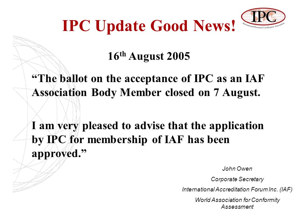 IPC Update Good News.