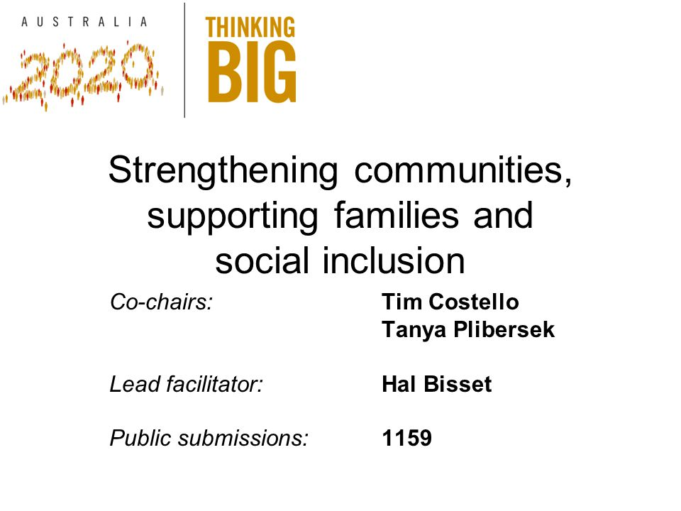 Strengthening communities, supporting families and social inclusion Co-chairs: Tim Costello Tanya Plibersek Lead facilitator:Hal Bisset Public submissions:1159