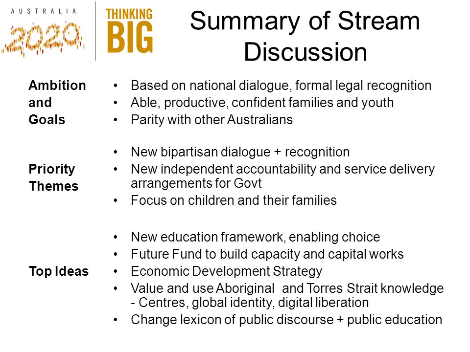 Summary of Stream Discussion Ambition and Goals Based on national dialogue, formal legal recognition Able, productive, confident families and youth Parity with other Australians Priority Themes New bipartisan dialogue + recognition New independent accountability and service delivery arrangements for Govt Focus on children and their families Top Ideas New education framework, enabling choice Future Fund to build capacity and capital works Economic Development Strategy Value and use Aboriginal and Torres Strait knowledge - Centres, global identity, digital liberation Change lexicon of public discourse + public education