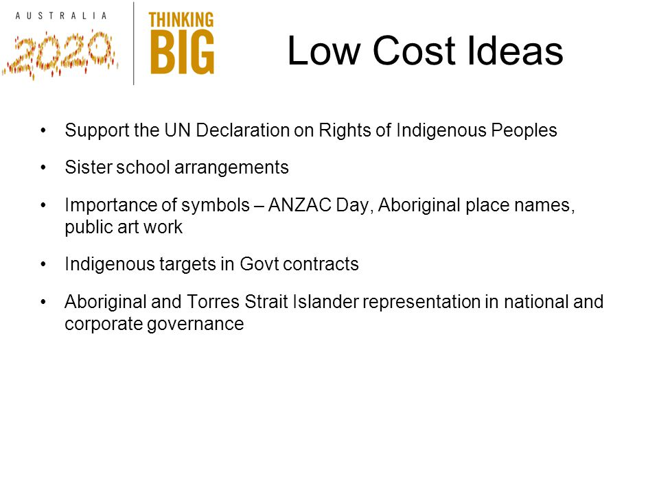 Support the UN Declaration on Rights of Indigenous Peoples Sister school arrangements Importance of symbols – ANZAC Day, Aboriginal place names, public art work Indigenous targets in Govt contracts Aboriginal and Torres Strait Islander representation in national and corporate governance Low Cost Ideas