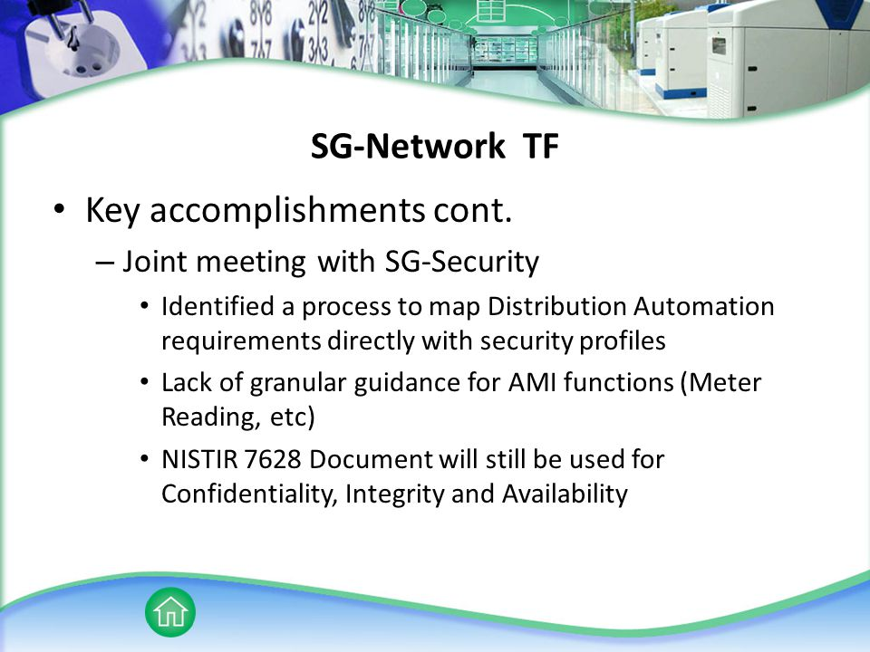SG-Network TF Key accomplishments cont.