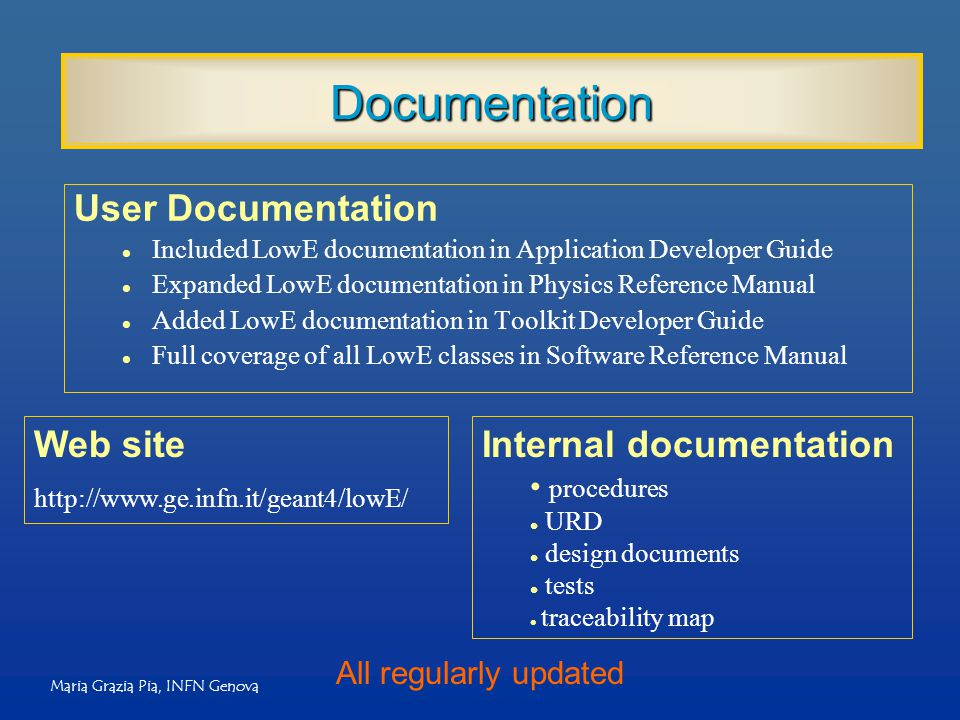 Maria Grazia Pia, INFN Genova Documentation User Documentation l Included LowE documentation in Application Developer Guide l Expanded LowE documentat