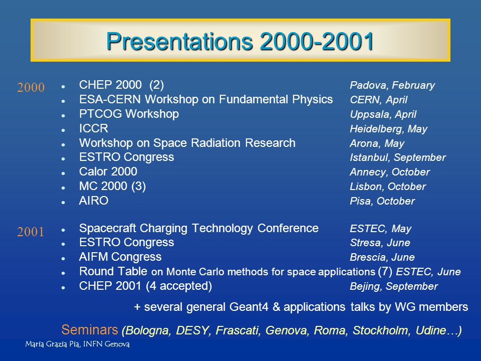 Maria Grazia Pia, INFN Genova Presentations 2000-2001 l CHEP 2000 (2) Padova, February l ESA-CERN Workshop on Fundamental Physics CERN, April l PTCOG Workshop Uppsala, April l ICCR Heidelberg, May l Workshop on Space Radiation Research Arona, May l ESTRO Congress Istanbul, September l Calor 2000 Annecy, October l MC 2000 (3) Lisbon, October l AIRO Pisa, October l Spacecraft Charging Technology Conference ESTEC, May l ESTRO Congress Stresa, June l AIFM Congress Brescia, June l Round Table on Monte Carlo methods for space applications (7) ESTEC, June l CHEP 2001 (4 accepted) Bejing, September Seminars (Bologna, DESY, Frascati, Genova, Roma, Stockholm, Udine…) 2000 2001 + several general Geant4 & applications talks by WG members