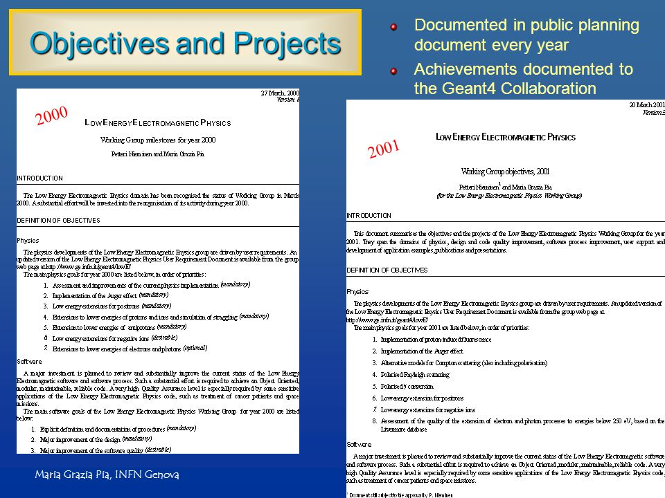 Maria Grazia Pia, INFN Genova Objectives and Projects Documented in public planning document every year Achievements documented to the Geant4 Collaboration 2000 2001