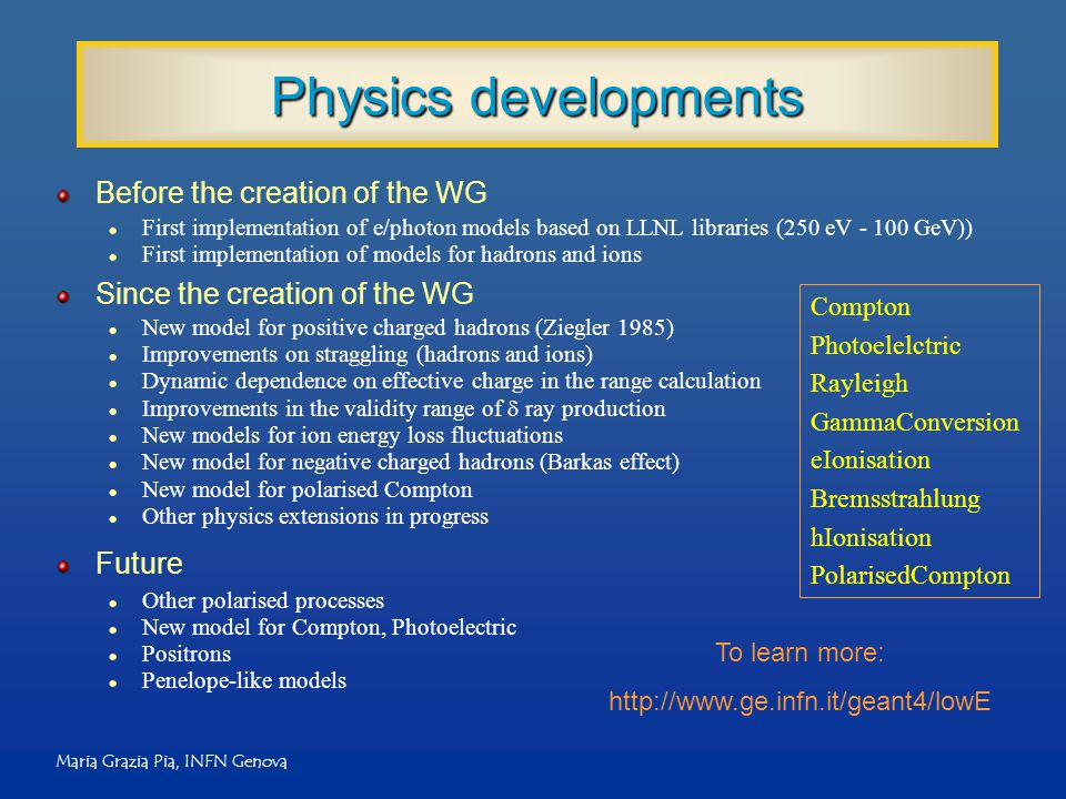 Maria Grazia Pia, INFN Genova Physics developments Before the creation of the WG l First implementation of e/photon models based on LLNL libraries (25