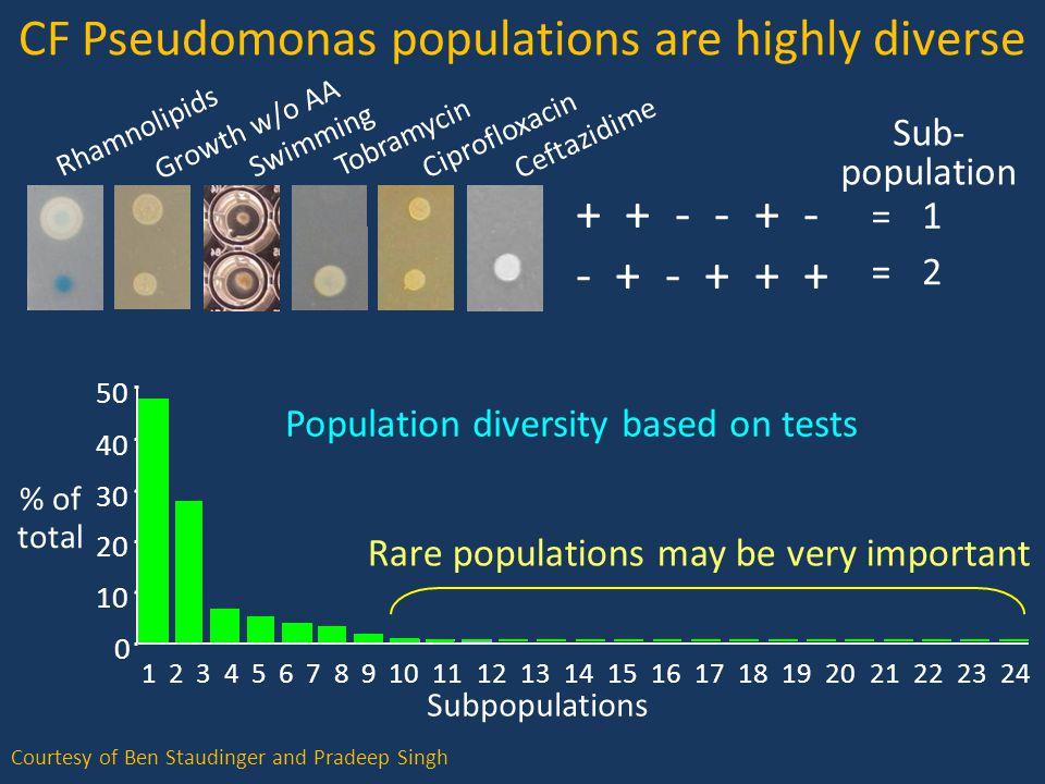 CF Pseudomonas populations are highly diverse Ceftazidime Rhamnolipids Growth w/o AA Swimming Tobramycin Ciprofloxacin + + - - + - - + - + + + Sub- population 1 2 = = Courtesy of Ben Staudinger and Pradeep Singh Rare populations may be very important Subpopulations 123456789101112131415161718192021222324 0 10 20 30 40 50 Population diversity based on tests % of total