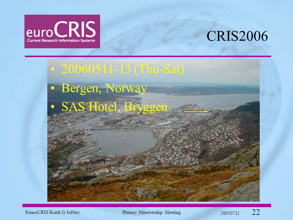 ©euroCRIS/Keith G JefferyPlenary Membership Meeting 20050711 22 CRIS2006 20060511-13 (Thu-Sat) Bergen, Norway SAS Hotel, Bryggen