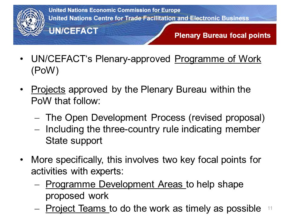 UN Economic Commission for Europe UN/CEFACT's Plenary-approved Programme of Work (PoW) Projects approved by the Plenary Bureau within the PoW that fol