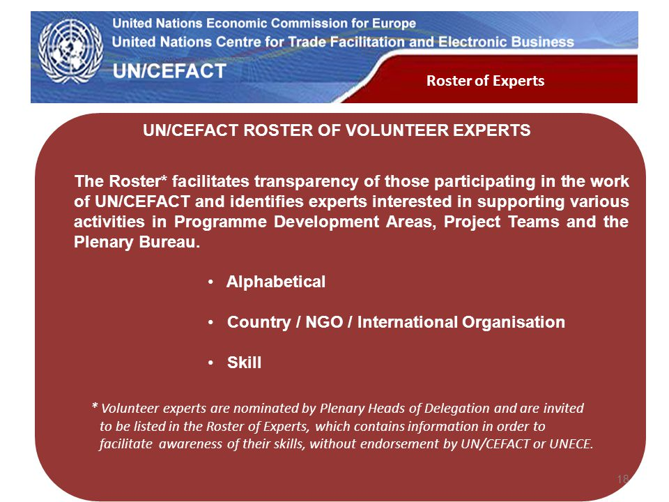 UN Economic Commission for Europe The Roster* facilitates transparency of those participating in the work of UN/CEFACT and identifies experts interest