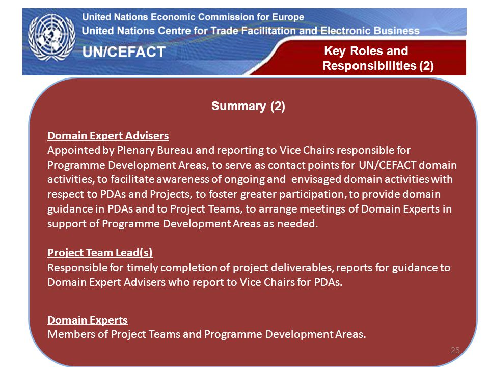 UN Economic Commission for Europe Domain Expert Advisers Appointed by Plenary Bureau and reporting to Vice Chairs responsible for Programme Development Areas, to serve as contact points for UN/CEFACT domain activities, to facilitate awareness of ongoing and envisaged domain activities with respect to PDAs and Projects, to foster greater participation, to provide domain guidance in PDAs and to Project Teams, to arrange meetings of Domain Experts in support of Programme Development Areas as needed.