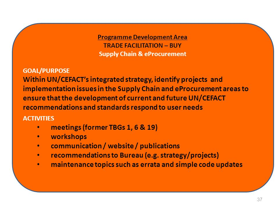 Programme Development Area TRADE FACILITATION – BUY Supply Chain & eProcurement GOAL/PURPOSE Within UN/CEFACT's integrated strategy, identify projects and implementation issues in the Supply Chain and eProcurement areas to ensure that the development of current and future UN/CEFACT recommendations and standards respond to user needs ACTIVITIES meetings (former TBGs 1, 6 & 19) workshops communication / website / publications recommendations to Bureau (e.g.