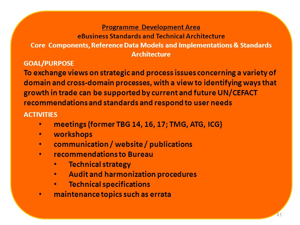 Programme Development Area eBusiness Standards and Technical Architecture Core Components, Reference Data Models and Implementations & Standards Architecture GOAL/PURPOSE To exchange views on strategic and process issues concerning a variety of domain and cross-domain processes, with a view to identifying ways that growth in trade can be supported by current and future UN/CEFACT recommendations and standards and respond to user needs ACTIVITIES meetings (former TBG 14, 16, 17; TMG, ATG, ICG) workshops communication / website / publications recommendations to Bureau Technical strategy Audit and harmonization procedures Technical specifications maintenance topics such as errata 41