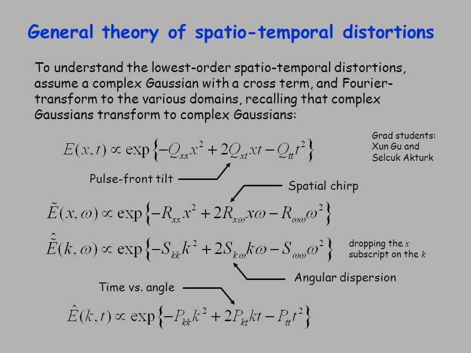 General theory of spatio-temporal distortions To understand the lowest-order spatio-temporal distortions, assume a complex Gaussian with a cross term,