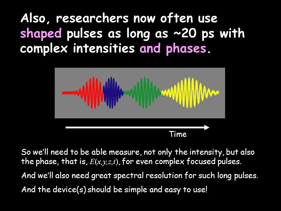 Time So we'll need to be able measure, not only the intensity, but also the phase, that is, E(x,y,z,t), for even complex focused pulses. And we'll als
