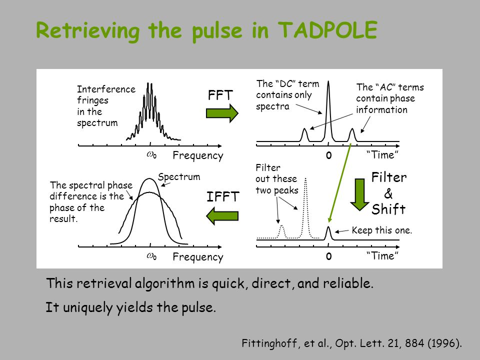 Retrieving the pulse in TADPOLE Interference fringes in the spectrum 00 Frequency The spectral phase difference is the phase of the result. IFFT 0