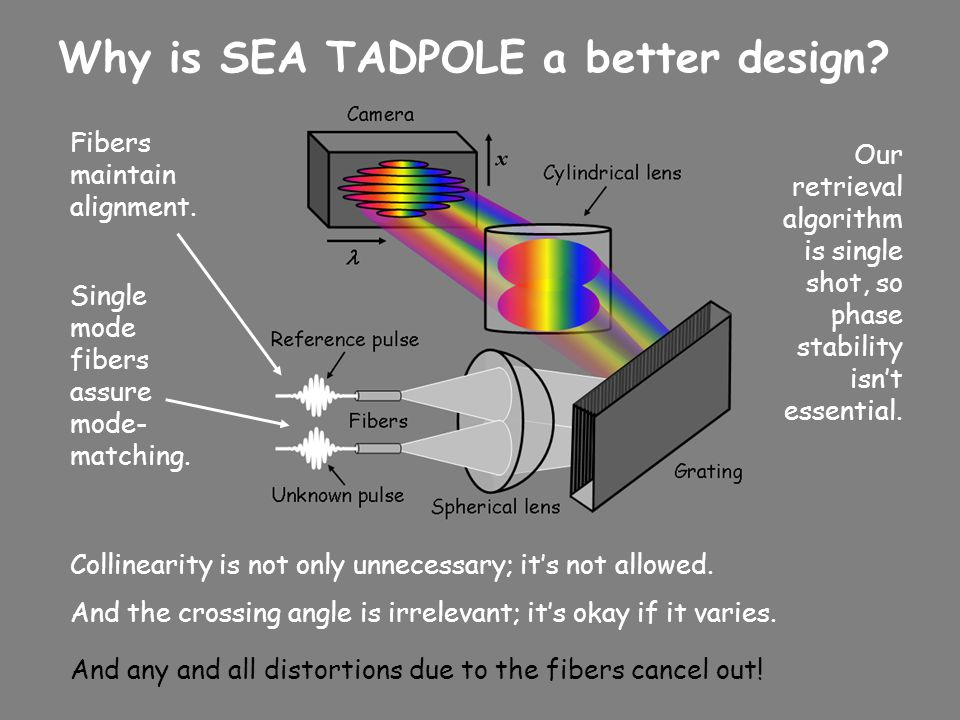 Why is SEA TADPOLE a better design? Single mode fibers assure mode- matching. Fibers maintain alignment. Our retrieval algorithm is single shot, so ph