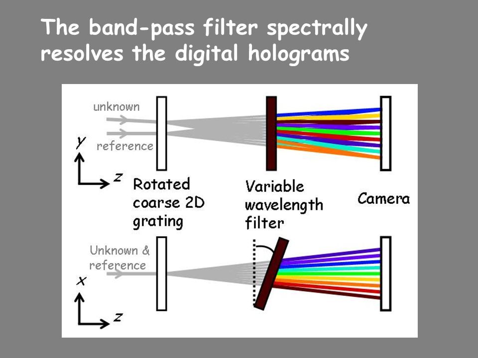 The band-pass filter spectrally resolves the digital holograms