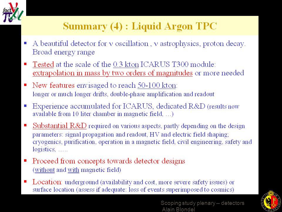 Scoping study plenary -- detectors Alain Blondel