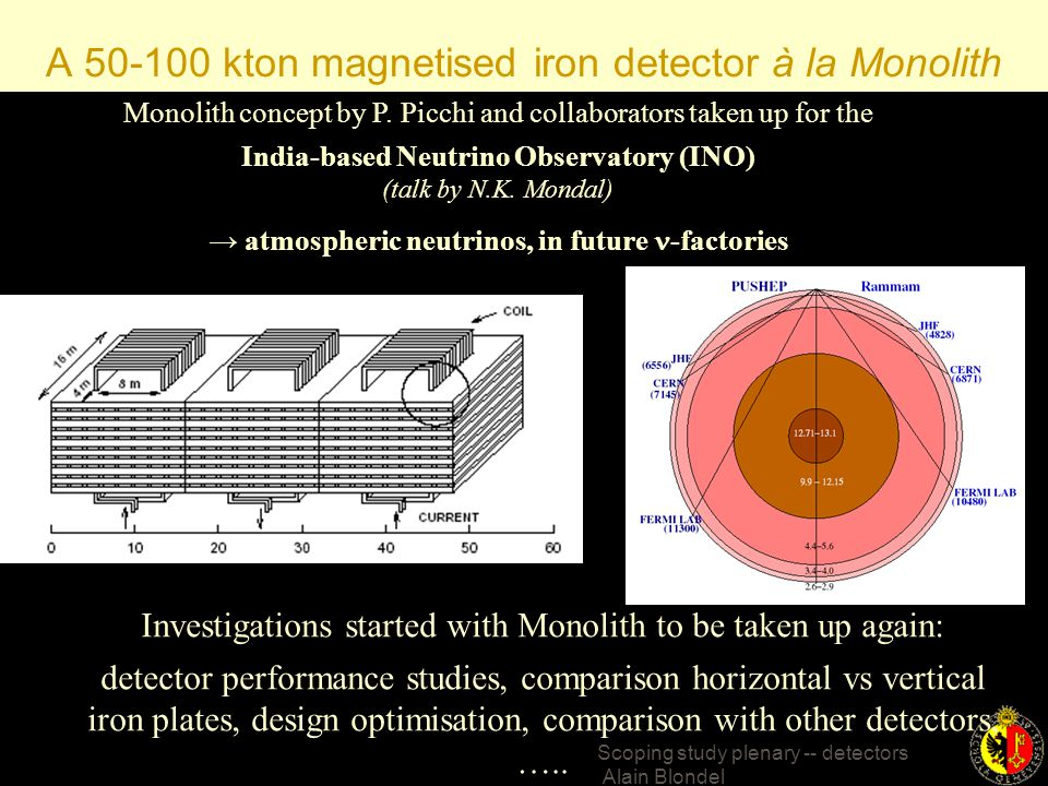 Scoping study plenary -- detectors Alain Blondel More working groups: Near detectors and flux control (beam instrumentation) (many people are attending NUINT this week-end) technology group photodetectors, scintillators, etc… will be included in each detector working group as they see fit.