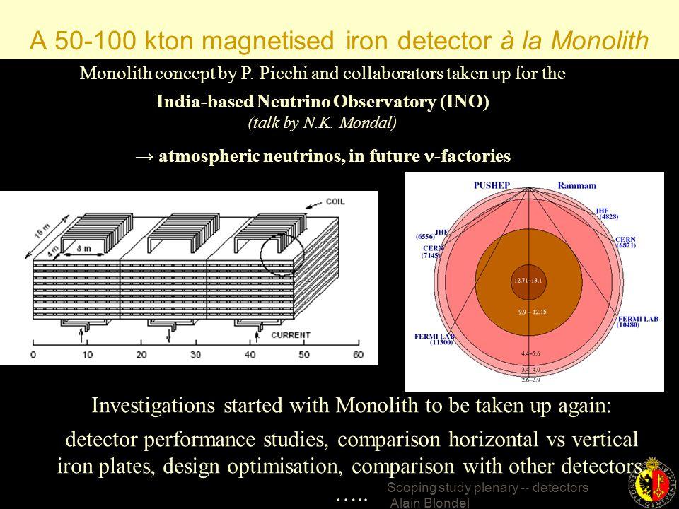 Scoping study plenary -- detectors Alain Blondel INO ~7000 km (Magic distance)