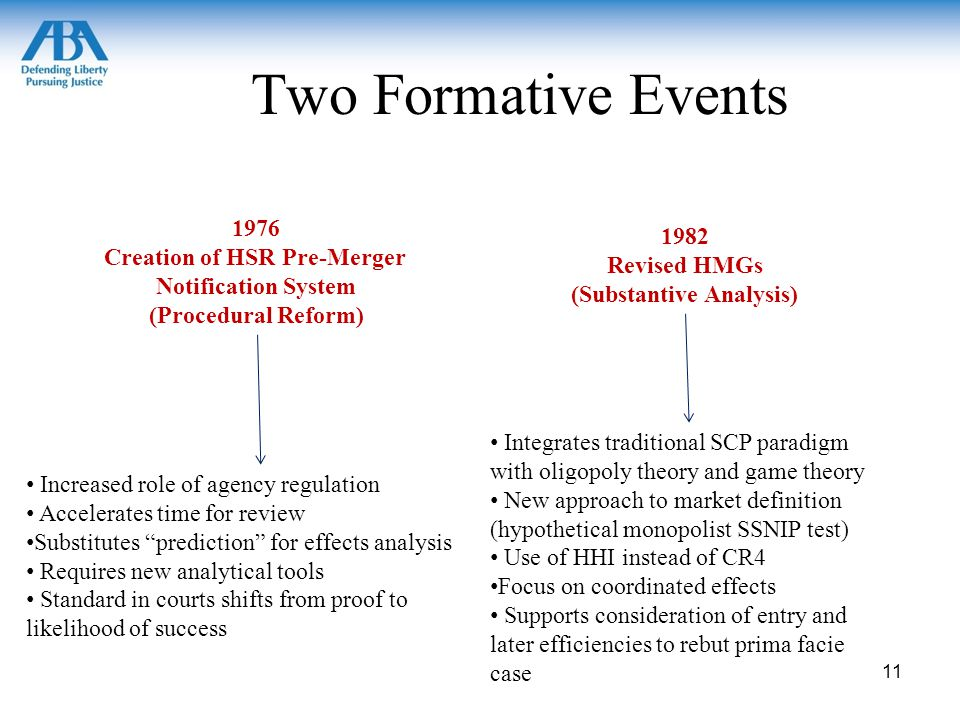Two Formative Events 1976 Creation of HSR Pre-Merger Notification System (Procedural Reform) 1982 Revised HMGs (Substantive Analysis) Increased role of agency regulation Accelerates time for review Substitutes prediction for effects analysis Requires new analytical tools Standard in courts shifts from proof to likelihood of success Integrates traditional SCP paradigm with oligopoly theory and game theory New approach to market definition (hypothetical monopolist SSNIP test) Use of HHI instead of CR4 Focus on coordinated effects Supports consideration of entry and later efficiencies to rebut prima facie case 11