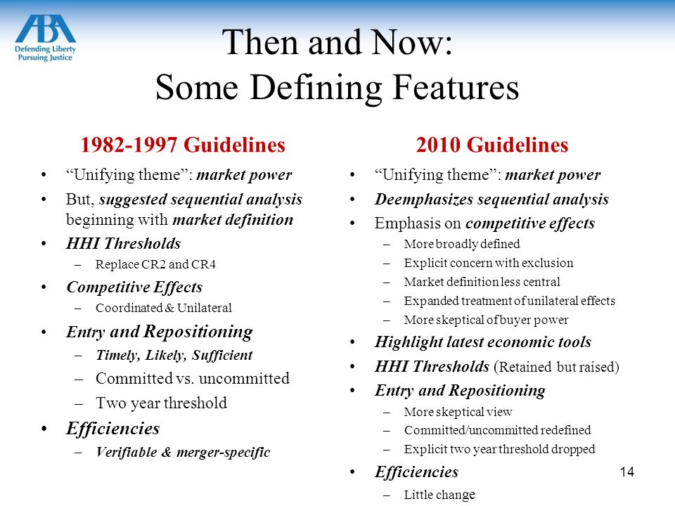 Then and Now: Some Defining Features 1982-1997 Guidelines Unifying theme : market power But, suggested sequential analysis beginning with market definition HHI Thresholds –Replace CR2 and CR4 Competitive Effects –Coordinated & Unilateral Entry and Repositioning –Timely, Likely, Sufficient –Committed vs.