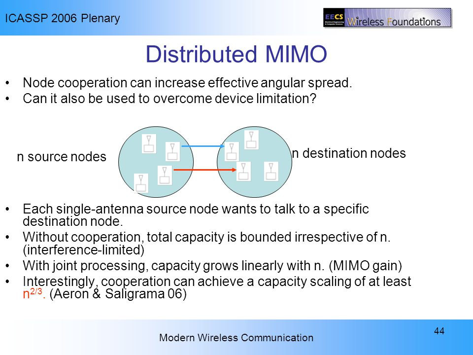ICASSP 2006 Plenary Modern Wireless Communication 44 Distributed MIMO Node cooperation can increase effective angular spread. Can it also be used to o
