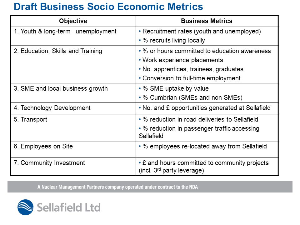 Draft Business Socio Economic Metrics ObjectiveBusiness Metrics 1.