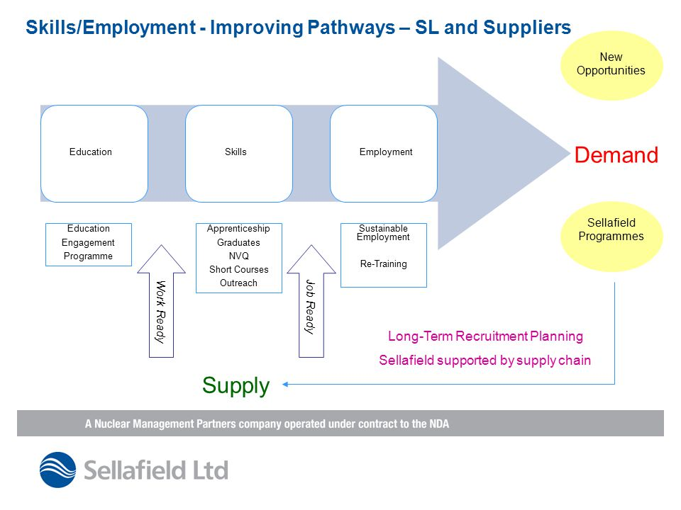 Skills/Employment - Improving Pathways – SL and Suppliers Demand EducationSkillsEmployment Education Engagement Programme Apprenticeship Graduates NVQ Short Courses Outreach Sustainable Employment Re-Training Work Ready Job Ready Supply Sellafield Programmes New Opportunities Long-Term Recruitment Planning Sellafield supported by supply chain